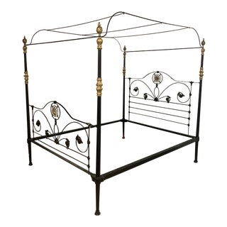 19th Century Victorian Brass and Iron King Bedframe For Sale
