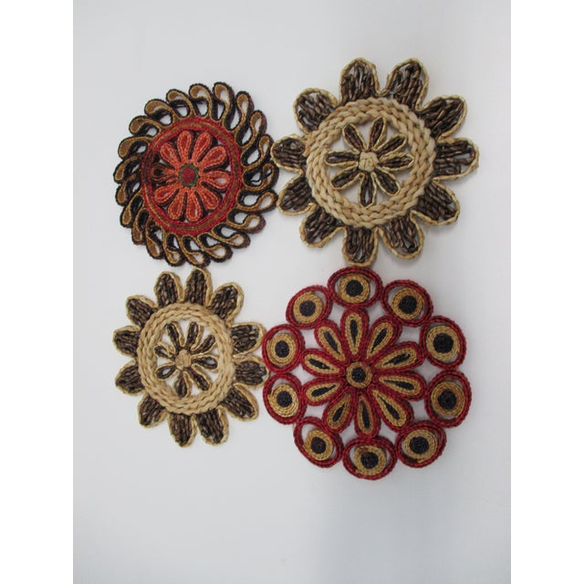 Vintage Set of Four (4) Small Woven Abaca Round Trivets in Natural Fiber For Sale - Image 4 of 8