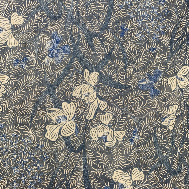 Textile Designer Blue on Off White Ralph Lauren Printed Fabric- 1 1/4 Yards For Sale - Image 7 of 7