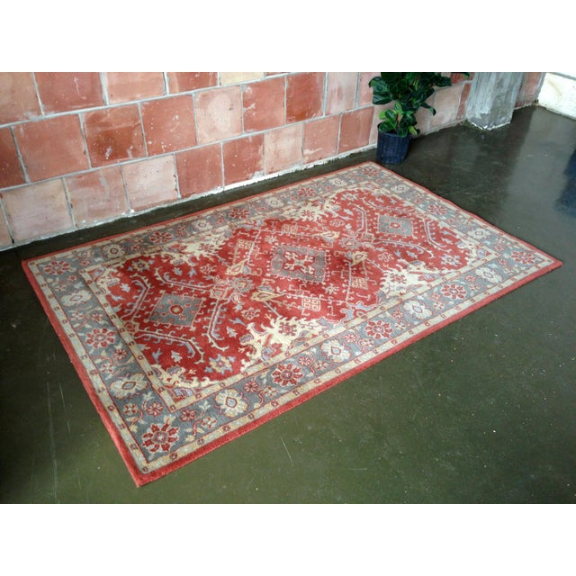 Pottery Barn Red & Blue Area Rug - 5' x 8' - Image 2 of 4