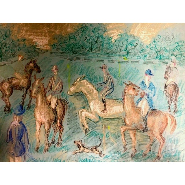 Modern 1950s Vintage French Hunting Scene Drawing For Sale - Image 3 of 9