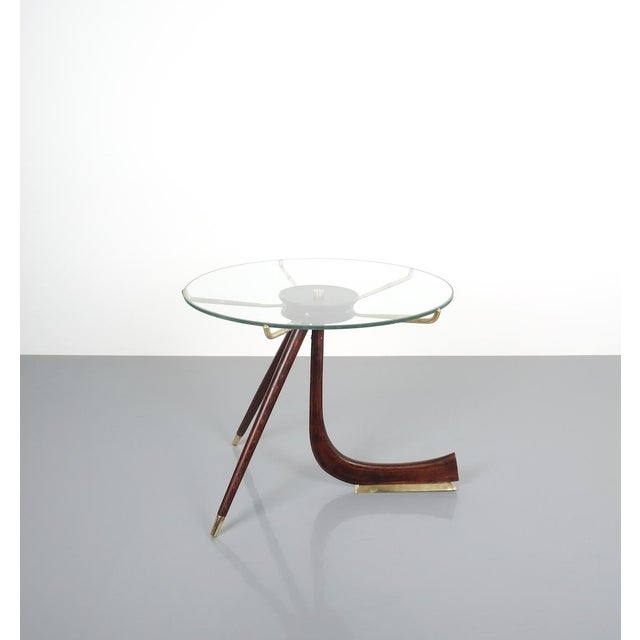 Brevettato Wood Brass Coffee or Side Table, Italy 1955 For Sale - Image 11 of 12