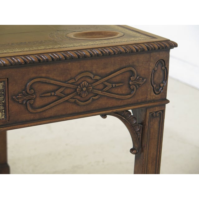 Maitland - Smith 1990s Chippendale Maitland Smith Square Leather Top Games Table For Sale - Image 4 of 11
