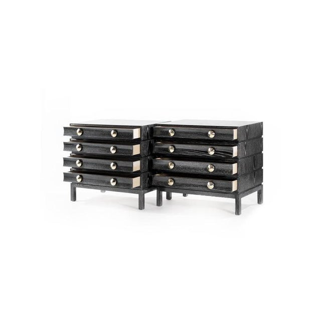 Mid-Century Modern Stamford Modern's Stacked Bedside Tables in Black Ceruse - a Pair For Sale - Image 3 of 11