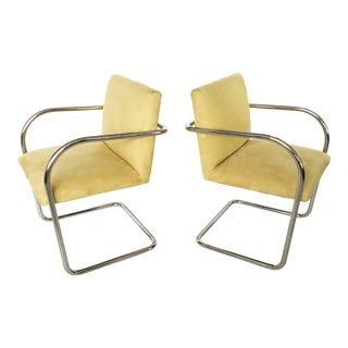 Pair of Suede Mies Van Der Rohe Tubular Brno Chairs by Knoll For Sale