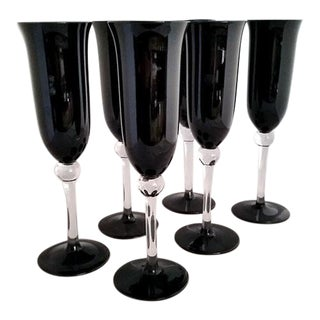 Black Crystal Champagne Flutes - Set of 6