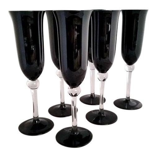 Black Crystal Champagne Flutes - Set of 6 For Sale