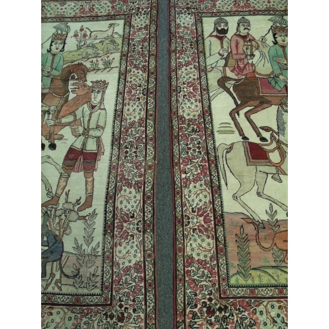 Textile Late 19th Century Antique Handmade Pictorial Rugs - a Pair For Sale - Image 7 of 13
