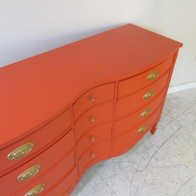Vintage 1950s Serpentine Papaya Dresser by Dixie Furniture Co. For Sale - Image 9 of 12
