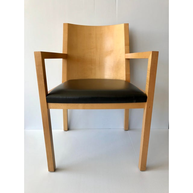 Unique and solidly constructed maple and leather Ward Bennett accent chair. In beautiful condition. From 1980s/early 1990s.