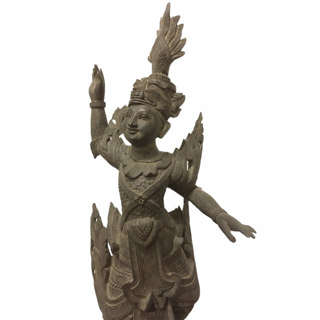 Antique 1920s Carved Khamphi Rosewood Burmese Temple Guardian Statue For Sale In San Francisco - Image 6 of 10
