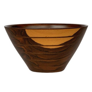Peter Petrochko Carved Padauk and Ziricote Wood Bowl For Sale