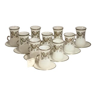 Sc Line Made in Italy Demitasse White Mottled Art Glass Cup & Saucer - Set of 10 Pairs For Sale