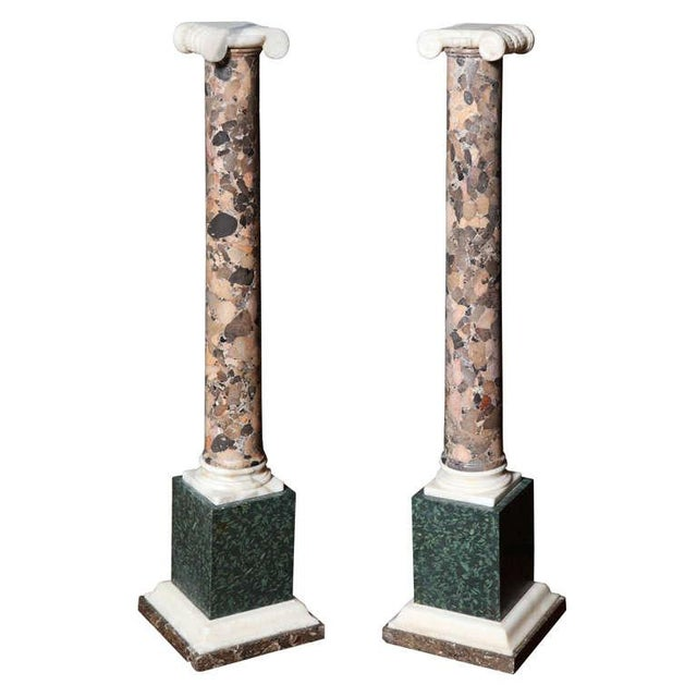 Pair of Grand Tour Columns in Porphyry, Breche and Alabaster For Sale - Image 9 of 9