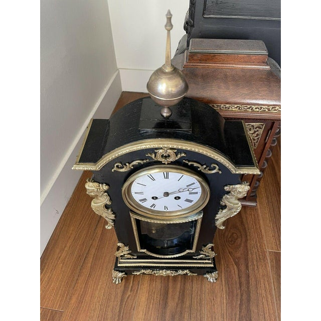 Metal Antique Mid 19th Century French Mantel Clock With Case For Sale - Image 7 of 11