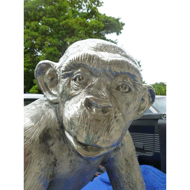 1970s Modern Life Size Nickel Plated Bronze Chimpanzee Statue For Sale In Miami - Image 6 of 13