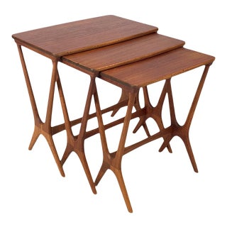 Vintage Teak Nesting Tables by Johannes Andersen For Sale