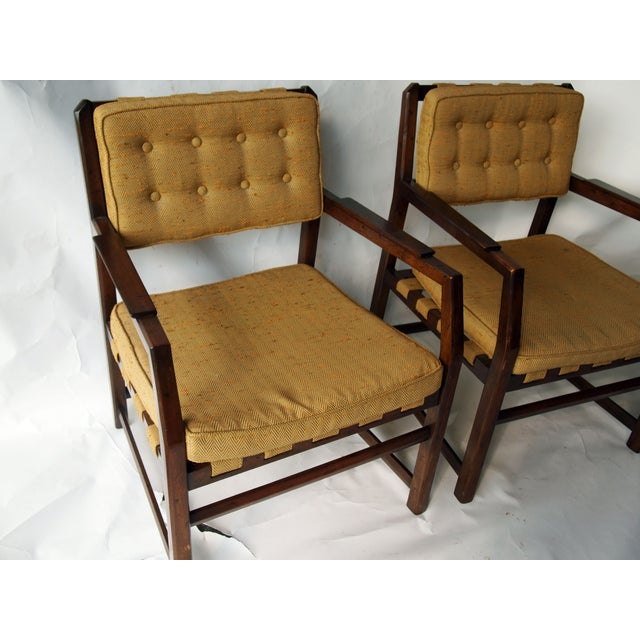 Golden Mid-Century Tufted Chairs - Pair - Image 4 of 6