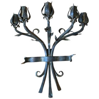 Heavy Hand Wrought Iron Wall Candelabra For Sale