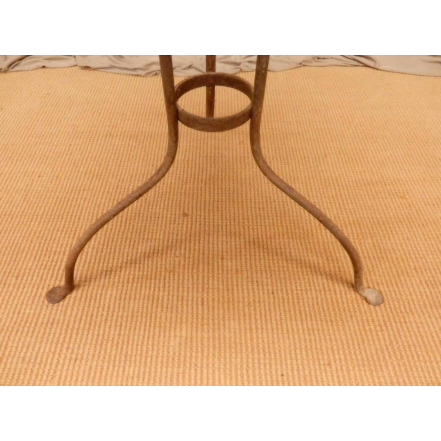 Metal Italian Provincial Faux Marble Top Table on Iron Base For Sale - Image 7 of 9