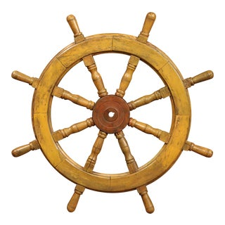 19th Century French Carved Walnut and Iron Sailboat Wheel With Old Yellow Paint For Sale