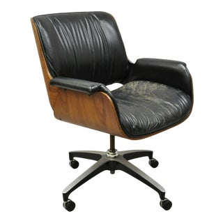Mid Century George Mulhauser Plycraft Black Leather Bentwood Office Desk Chair For Sale