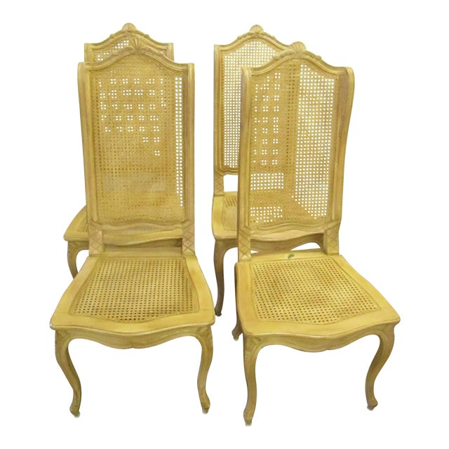 Baker Tall Back Cane & Carved Wood Dining Chairs - Set of 4 For Sale