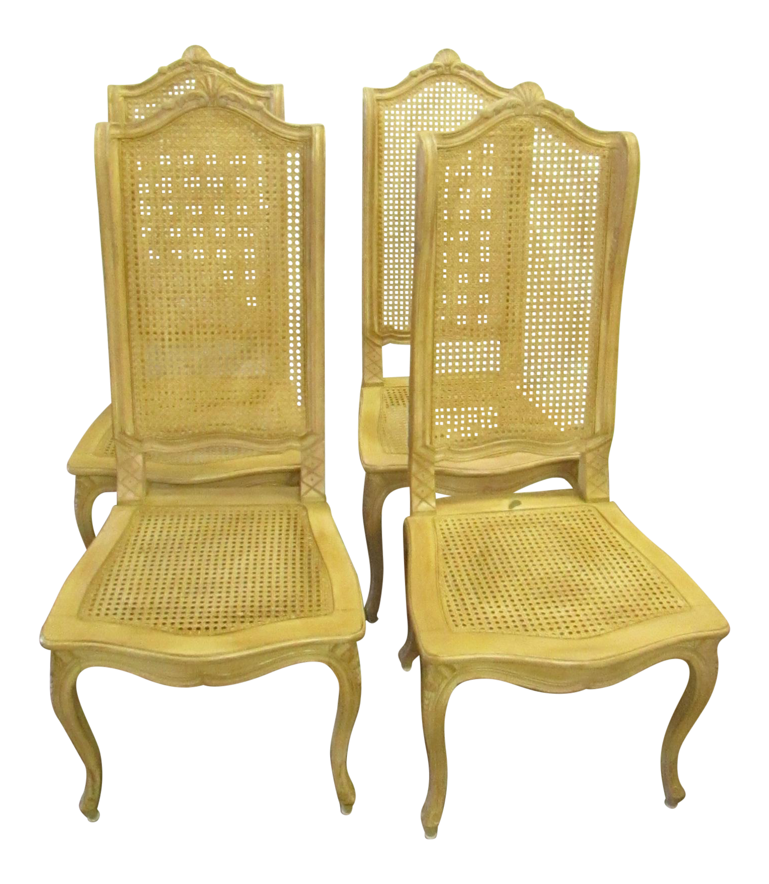 Baker Tall Back Cane U0026 Carved Wood Dining Chairs   Set Of 4