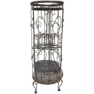 Mid-Century Iron and Wicker Wine Rack For Sale