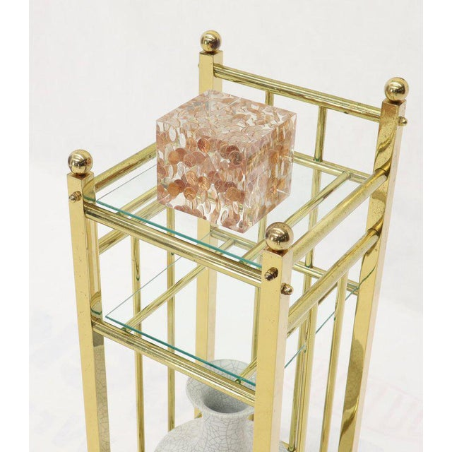 Mid-Century Modern Brass and Glass Square Stand Table Cart Pedestal on Wheels For Sale - Image 12 of 13