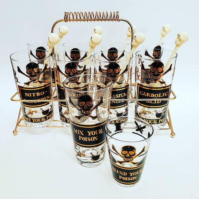 1960s Georges Briard Poison Glasses, Name Your Poison, MIX Your Poison and Blend Your Poison Set - 19 Pieces For Sale - Image 5 of 10