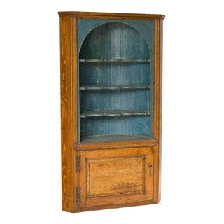 Mid 19th Century Blue Interior Painted Corner Cupboard For Sale