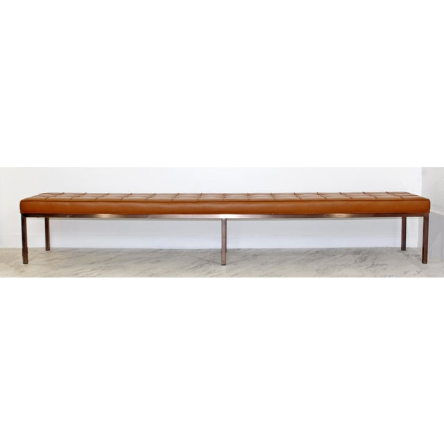 1970s 1970s Mid-Century Modern X-Long Tufted Leather Museum Bench For Sale - Image 5 of 13