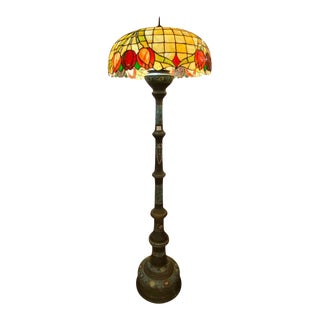 Chinoiserie or Floor Lamp With Tiffany Style Stained Glass Shade For Sale