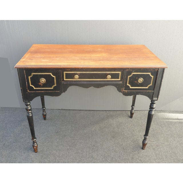 Vintage French Provincial black rustic writing desk. Plank wood style table top. Dorothy Draper Style. Gorgeous desk in...