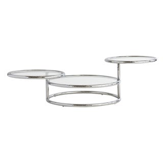 Modern 3-Tiered Coffee Table in Chrome & Glass Circa 1970s
