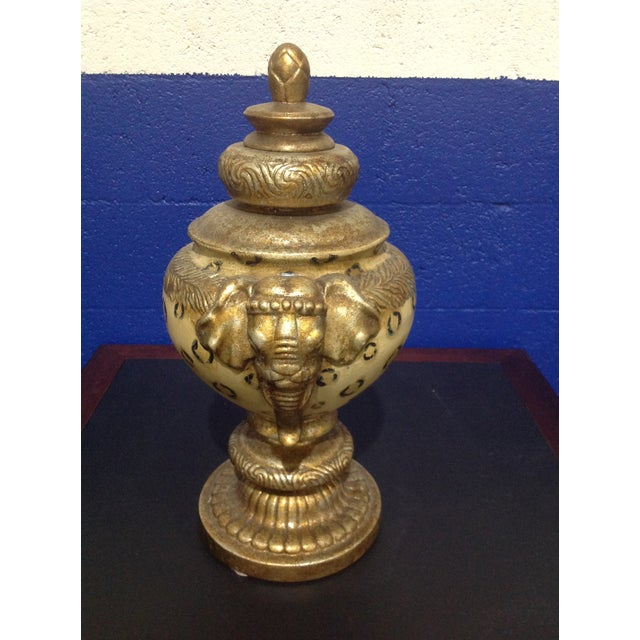 Traditional Vintage Pedestal Animal Motif Urn With Lid & Elephant Handles For Sale - Image 3 of 7