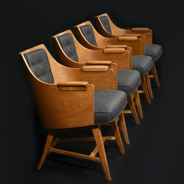 Lodge Edward Wormley for Dunbar Chairs, Rare Set of Four, 1950's For Sale - Image 3 of 11