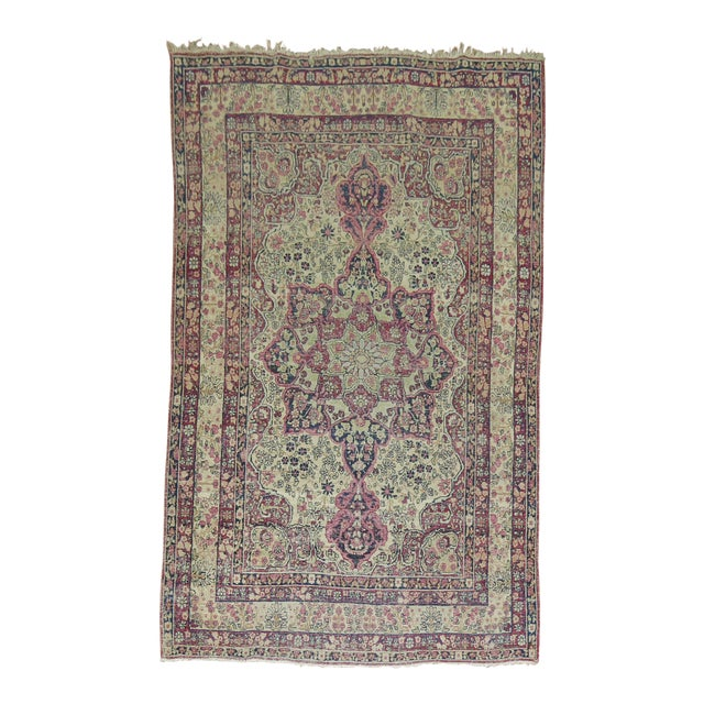 19th Century Lavar Kerman Rug, 4' x 6'4'' For Sale
