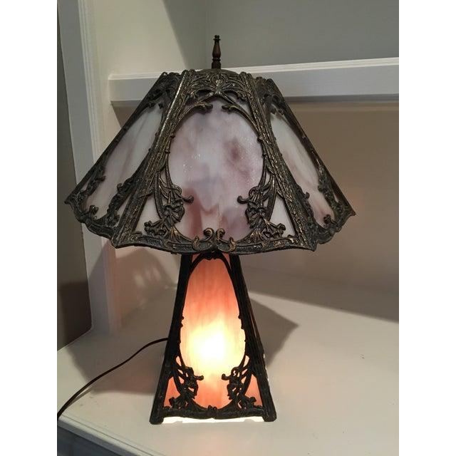 Art Nouveau Deco Slag Glass Lamp - Image 6 of 10