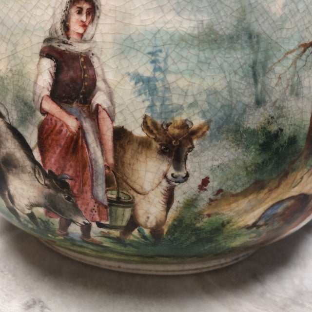 French Country 1900's Vintage English Ironstone Double Sided Pitcher For Sale - Image 3 of 7