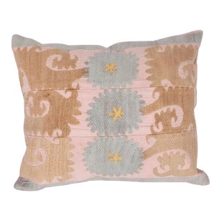 Vintage Cotton Embroidered Down Feather Pillow For Sale
