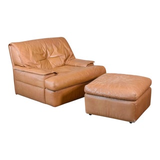 Pace Colletion 'Monique' Leather Chair and Ottoman For Sale