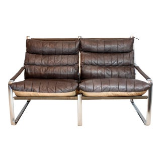 Vintage Mid Century Tube Steel Frame & Quilted Leather Sling Sofa For Sale