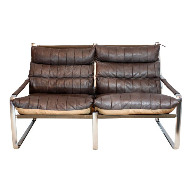 Vintage Mid Century Tube Steel Frame Quilted Leather Sling Sofa