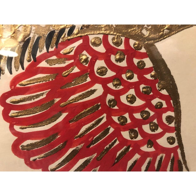 Gold/ Red/ Black Bird Acrylic Painting in Red Bamboo Frame For Sale - Image 9 of 12