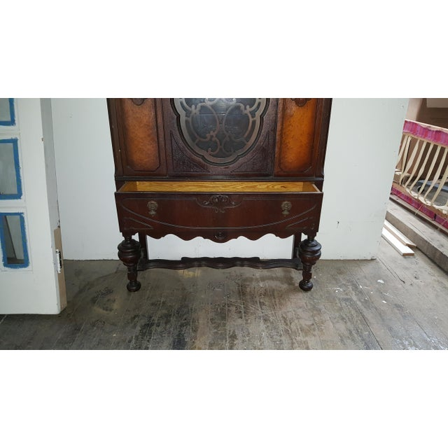 Art Deco Antique Art Deco Waterfall Armoire - Vintage Waterfall Hutch China Cabinet For Sale - Image 3 of 7