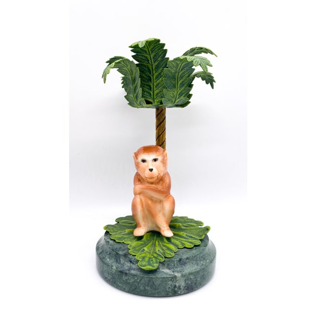 20th Century Hollywood Regency Monkey Palm Tree Tole, Ceramic and Marble Candlesticks- a Pair For Sale - Image 4 of 10
