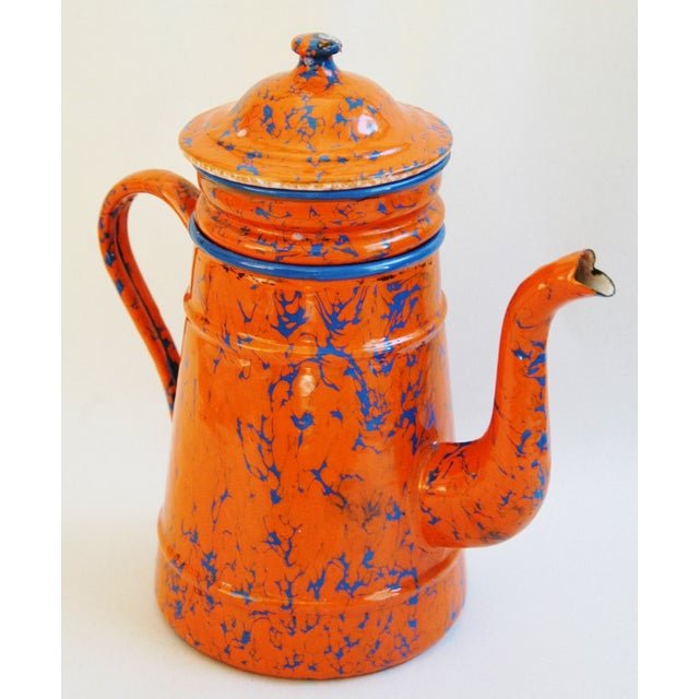 1940s French Marbleized Enameled Coffeepot - Image 4 of 7