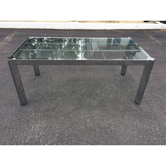 Design Institute of America Chrome & Glass Dining Table For Sale - Image 10 of 11